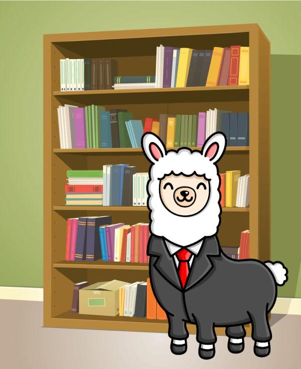 Alex the Alpaca with bookshelf