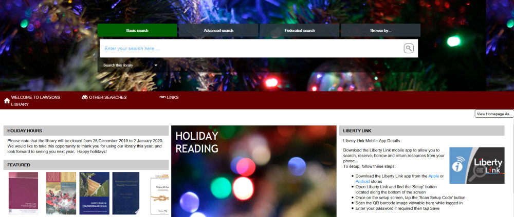 screenshot of library management system home page showing holiday information