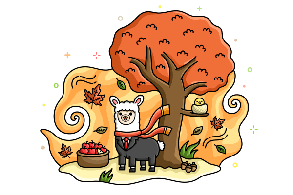 Alex the Alpaca in autumn