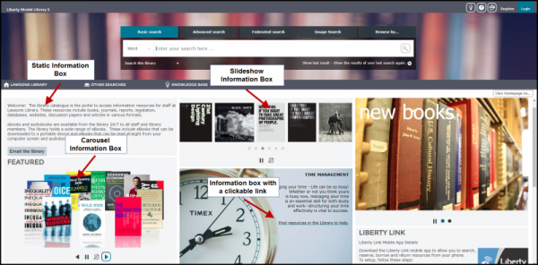 Liberty homepage features